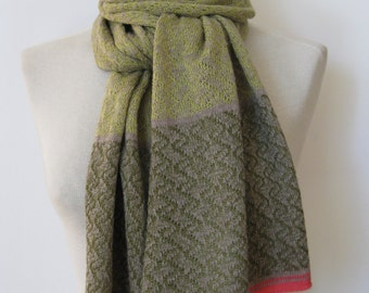 Handmade cashmere scarf/ knitted cashmere scarf / patterned scarf/ womans scarf/lime scarf with olive+coral borders