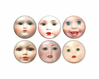 Creepy Doll Pin or Magnet Set, 6pc, Baby Doll Face, Vintage Baby Doll Faces, Creepy Buttons, Weird