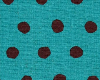 216366 sea green echino canvas fabric with brown dots Standard