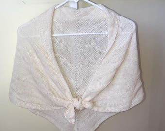 Hand knit lace shawl.