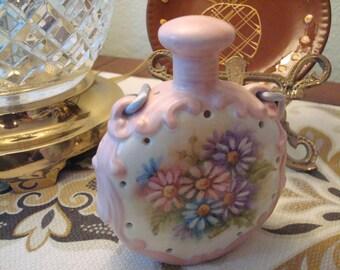 Vintage Hand Painted Potpourri Ceramic Sachet - Flowers,Silk Cord - Signed - Excellent