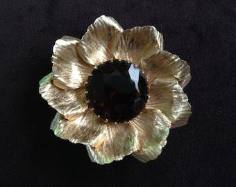 Huge Vintage Brown Rhinestone with Gold Toned Metal Flower Brooch 0597