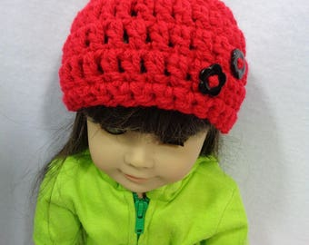 18 Inch Doll Hat, Red or Black Valentine's Day Beanie for American Girl, Cap for Doll with Flower Buttons, Gift for Little Girl