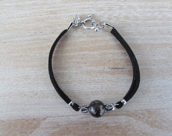 """Silver plated bracelet, pink double cord Black Suede, natural stone black """"planet"""""""