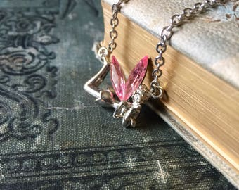 Tinkerbell Pendant Necklace with Pink Crystal Wings Angel Wings Fairy
