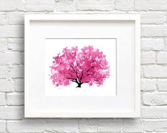 Magnolia Tree Art Print - Wall Decor - Kitchen Watercolor Painting
