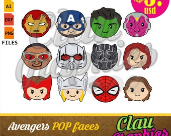 Avengers pop faces SVG patterns, DXF files, PNG images and editable file, cute patterns for paper craft projects and much more