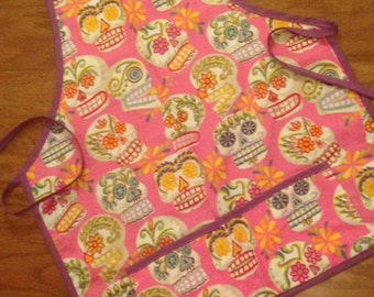 Sugar Skull Apron with Glitter - Pink Background