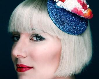 Fascinator Hat Ice cream Glitter Cherry Kitsch Derby Fun Hat