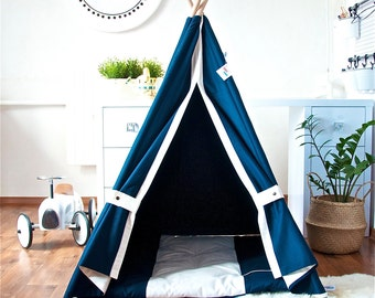 Navy blue teepee, childrens teepee, kids teepee, play tent, play house, tipi, teepee tent, kids teepee tent, teepee tent for kids, tipi tent