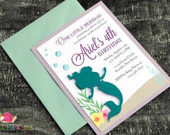 Little Mermaid Invitations · A2 LAYERED · Turquoise and Purple · Under the Sea Birthday Party | Ariel Baby Shower | Pool Party