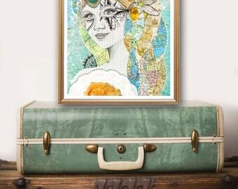 travel art - travel lover gift - map collage art print - boho decor - wanderlust art