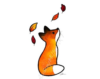 The Fox and The Leaves - 5x7 Art Print