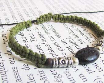 Boho bracelet green Agate, Tiger