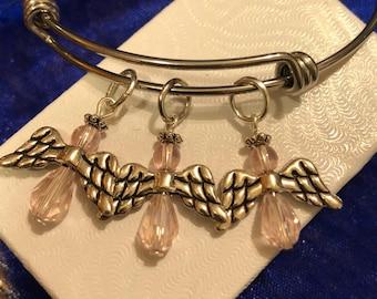 Light Pink Angels on Stainless Steel Bangle Bracelet