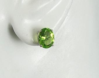 14K White Gold Post Earrings Oval  10x8mm Peridot Gemstone Earrings Stud Earrings P14KWPER10x8OV