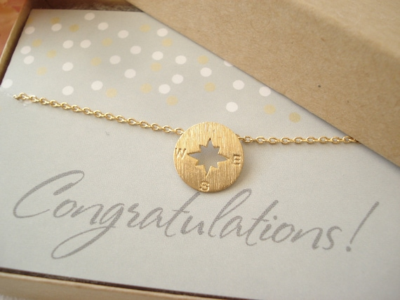 Tiny Gold Rose Gold or Silver compass necklacesimple
