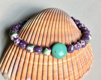 Purple Turquoise Bracelet - Handmade Jewelry -Gifts for Her - Ready to Ship