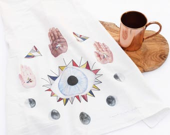 Evil Eye Tea Towel - Colorful Eye Hands Moons Geometric Flour Sack Kitchen Towel