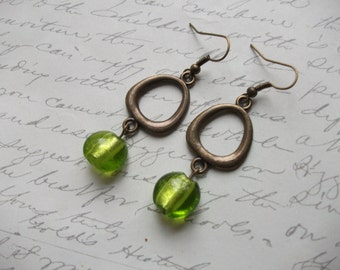 Green Murano glass antique brass / bronze earrings