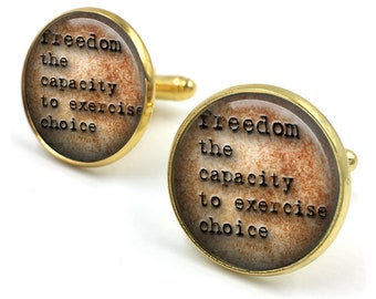 Freedom Dictionary Cuff Links, Dictionary Cufflinks, Dictionary Sayings Jewelry, Freedom Jewelry,Stamped Jewelry, gift for men, gift for him