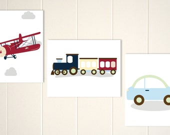 Baby boy nursery, Transportation nursery art, airplane, car, truck, train, toddler boy wall art, custom colors, set of 3