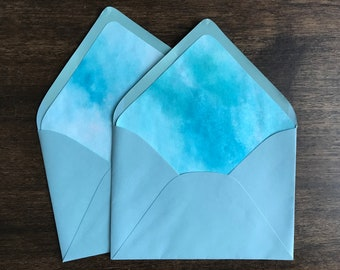 Aqua Watercolor Envelope Liners