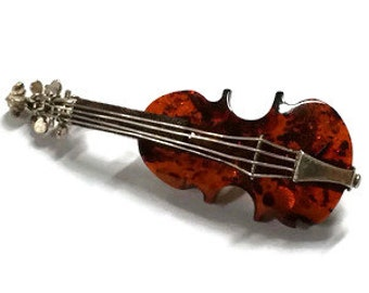 Vintage Amber Sterling Guitar Pin / Brooch
