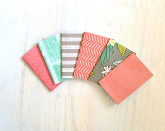 Notebooks: 6 Tiny Journals, Small Notebooks, Pink, Teal, Grey, For Her, Kids, Gift, Unique, Mini Journals, Party Favors, Wedding, T124