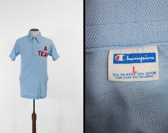 Vintage Champion bleu Bar Polo Shirt A Team manches courtes T-shirt-taille moyenne