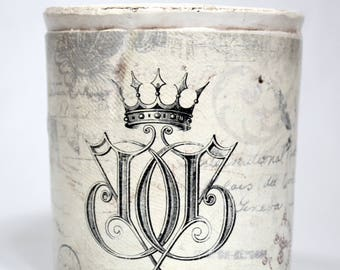 White Crock * Joy * crown * candle container * Christian decor