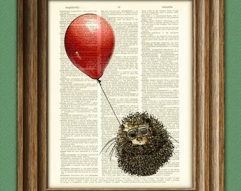 The Hedgehog Aviator is bringing you a red balloon print over an upcycled vintage dictionary page book art Buy 3 get 1 Free