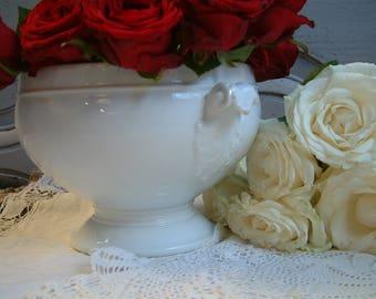 Antique Paris porcelain soup tureen. Parisian porcelain tureen. French vintage decor. Romantic home decor. French shabby chic.