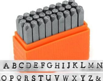 ImpressArt 3mm Newsprint Metal Stamp Set, Basic Metal Stamps, Uppercase or Lowercase, For Soft Metals