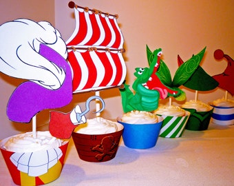 Instant Download - Neverland  Peter Pan Collection Cupcake Wrappers and Toppers