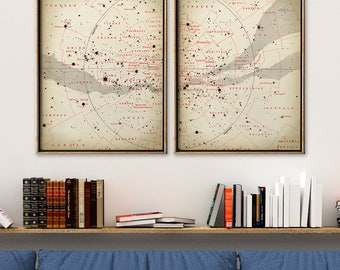 STAR MAP Astronomy  SET of 2, South Stars Map Print, Stars Print, Astronomy Illustration, Astronomy Poster, Celestial Art, Sky Art, Space