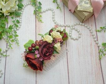 Gift for her/Marsala flower comb/ Burgundy hair comb/ Wedding hair piece/ Bridal headpiece/ Flower girl gift/ Bridal flower comb/ Bridesmaid