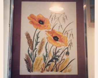 Retro 1970's Crewel Embroidery Poppy Picture- Glazed & Framed