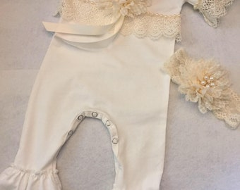 Newborn Infant Baby Girl Romper Ivory Ruffled Baby Romper
