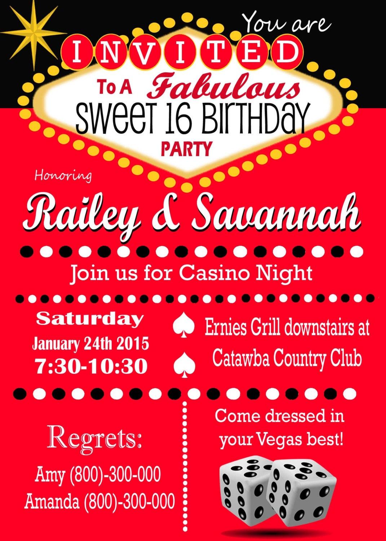 Casino Theme Party Las Vegas Sweet 16 Party Invitation. Retro