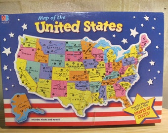 Vintage Retro 1993 UNiTED STATES USA State Picture Map jig saw Puzzle cardboard home school MB Hasbro