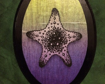 4x6 Green and Purple Starfish Wooden Piece