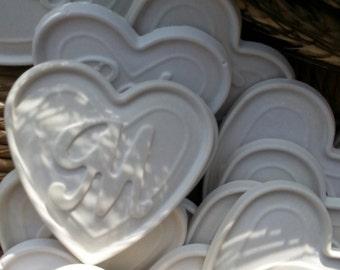 10 scented chalks chalks, 6.5 x 6.5 cm, letters, little hearts, wedding, placeholder, birth, wedding favor