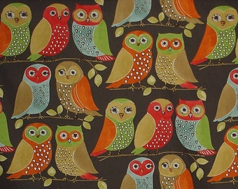 Owl fabric retro interior home decorating cotton material mid century 1 yard