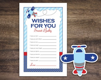Instant Download Airplane Baby Shower Wishes for Baby Game Cards, Printable Party Sheets for Boy, Blue Red Aviation Polkadot  #37A