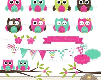 50% OFF Owl Clipart, Hot Pink Owl, Turquoise Stitched Owl, Girl Baby Shower Owl, Flowers, Tree Branch, Bunting for Digital Scrapbooking, Inv