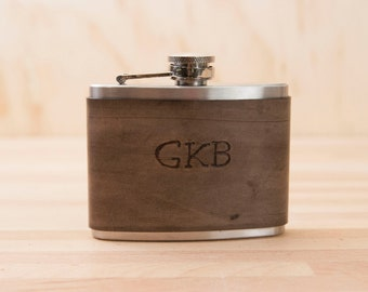 Monogram Flask  - Custom Leather Flask in leather and stainless steel - Antique Black - 4oz