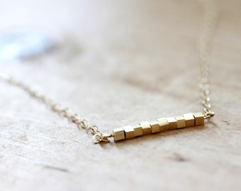 Square Bar Necklace  Gold Geometric Necklace  Thin Simple Square Necklace