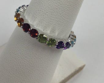 Eternity Band With Natural Stones Solid 14kt White Gold