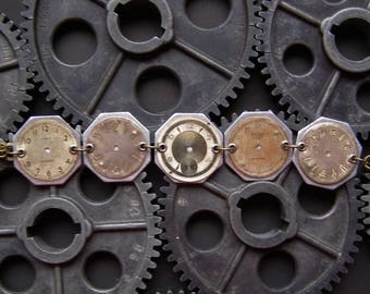 Recycled Watch Faces Steampunk Bracelet